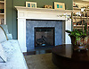 Fireplace hearth made with Aladdin in Bardiglio honed.