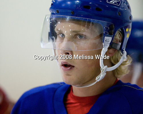 Viktor Ekbom (Sweden 7) - Team Sweden takes part in practice on Friday morning, August 8, 2008, in the NHL Rink during the 2008 US National Junior Evaluation Camp and Summer Hockey Challenge in Lake Placid, New York.