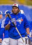 26 March 2018: Toronto Blue Jays third baseman Vladimir Guerrero Jr. returns to the dugout after taking batting practice, prior to a pre-season exhibition game against the St. Louis Cardinals at Olympic Stadium in Montreal, Quebec, Canada. The Cardinals defeated the Blue Jays 5-3 in the first of two MLB Grapefruit League games, in which Guerrero Jr. made his first appearance since childhood at the former home on the Montreal Expos. Mandatory Credit: Ed Wolfstein Photo *** RAW (NEF) Image File Available ***