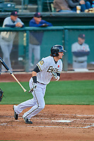 Jarrett Parker (32) of the Salt Lake Bees bats against the Tacoma Rainiers at Smith's Ballpark on May 27, 2019 in Salt Lake City, Utah. The Bees defeated the Rainiers 5-0. (Stephen Smith/Four Seam Images)