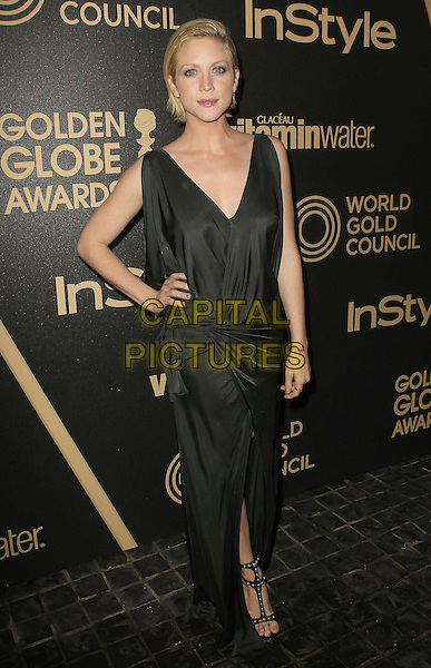 Brittany Snow.The Hollywood Foreign Press Association And InStyle Miss Golden Globe 2013 Party held at Cecconi's Restaurant, West Hollywood, California,.USA, 29th November 2012..full length black draped long maxi dress wrap gathered sandals hand on hip sleeveless .CAP/ADM/KB.©Kevan Brooks/AdMedia/Capital Pictures.