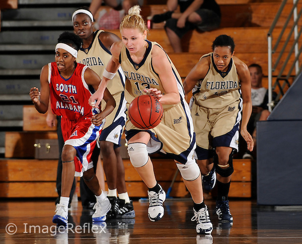 20 December 2008:  FIU's Monika Bosilj (13) breaks for the basket after recovering a loose ball in the South Alabama 65-47 victory over FIU at the U.S. Century Bank Arena in Miami, Florida.