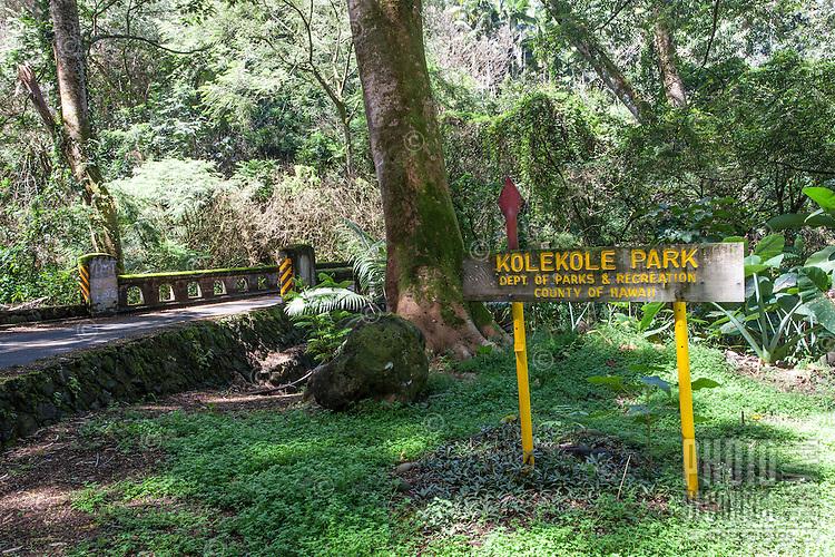 """Kolekole (Beach) Park"" sign in Honomu, Big Island."