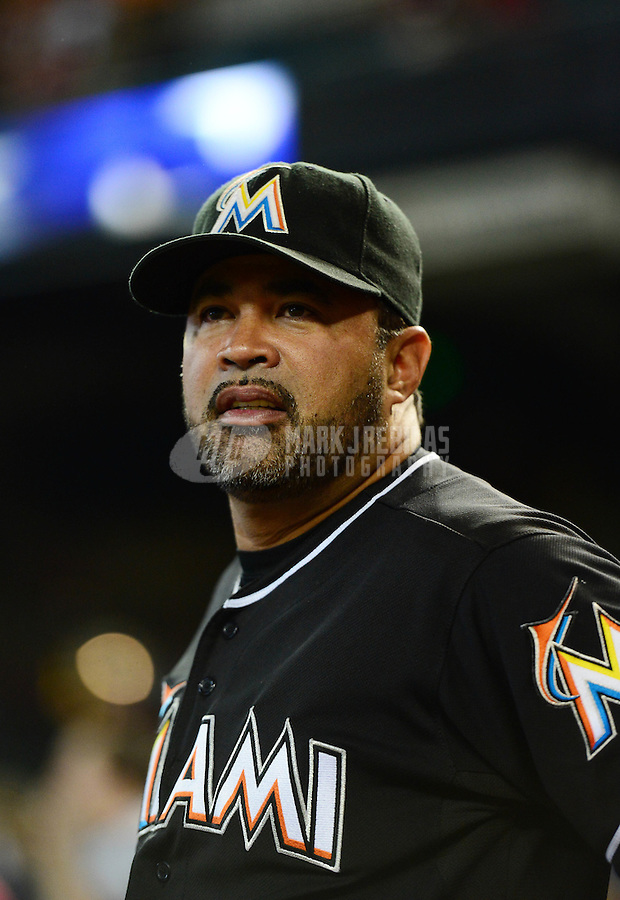 Aug. 22, 2012; Phoenix, AZ, USA: Miami Marlins manager Ozzie Guillen prior to the game against the Arizona Diamondbacks at Chase Field. Mandatory Credit: Mark J. Rebilas-