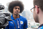 Leicester City's Hamza Dewan Choudhury (L) speaks to the media in front of Hong Kong's urban landscape to celebrate the launch of the HKFC Citi Soccer Sevens 2017 on 25 May 2017 in Causeway Bay, Hong Kong, China. Photo by Chris Wong / Power Sport Images
