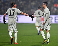 Cristiano Ronaldo of Juventus (R) celebrates with Mario Mandzukic after scoring the goal of 0-2 <br /> Reggio Emilia 10-2-2019 Stadio Mapei, Football Serie A 2018/2019 Sassuolo - Juventus<br /> Foto Andrea Staccioli / Insidefoto