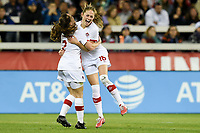 San Jose, CA - Sunday November 12, 2017: Janine Beckie scores and celebrates during an International friendly match between the Women's National teams of the United States (USA) and Canada (CAN) at Avaya Stadium.