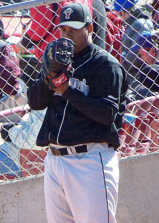APPLETON - APRIL 2009: Wily Peralta of the Wisconsin Timber Rattlers, Class-A affiliate of the Milwaukee Brewers, warms up prior to a game on April 7, 2009 at Fox Cities Stadium in Appleton, Wisconsin. (Photo by Brad Krause)