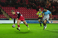 Kieran Hardy of Scarlets scores his sides fifth try during the European Rugby Challenge Cup Round 4 match between the Scarlets and Bayonne at the Parc Y Scarlets in Llanelli, Wales, UK. Saturday 14 December 2019