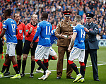 14.09.2019 Rangers v Livingston: Members of the armed forces greet the players just before kick off