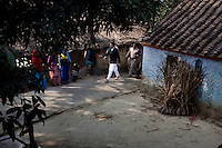 "Minister of Legislative Assembly, Ritesh Pandey, 30, campaigns door-to-door in a village with a crowd of supporters chanting slogans such as ""long live Ritesh Pandey"" and ""press the button, decide the elephant (symbol)"" in Ajanpara, Ambedkar Nagar, Uttar Pradesh, India, on 21st January, 2012. Returning 1.5 years ago after almost 10 years abroad, Pandey is contesting on behalf of the Bahujan Samaj Party (BSP), a party that is based on its appeal to Dalit voters. Party leader Mayawati, herself a Dalit, has recently been giving out more tickets to muslims and high caste candidates in an attempt to woo a larger spectrum of voters in Uttar Pradesh, a Bellwether state. Photo by Suzanne Lee for The National (online byline: Photo by Szu for The National)"