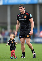 Ian Whitten of Exeter Chiefs with his son after the match. Gallagher Premiership match, between Exeter Chiefs and Leicester Tigers on September 1, 2018 at Sandy Park in Exeter, England. Photo by: Patrick Khachfe / JMP