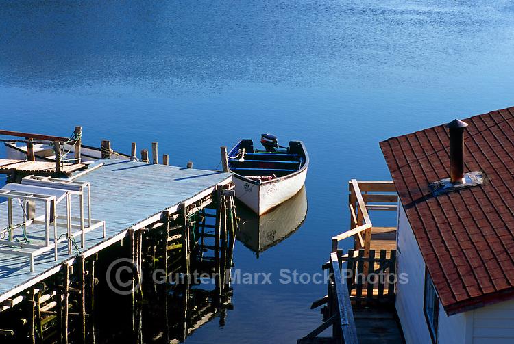 St. John's, Newfoundland and Labrador, Canada - Dory at Dock in the Quidi Vidi Neighbourhood