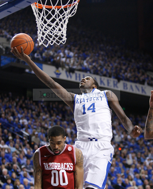 UK's Michael Kidd-Gilchrist lays the ball up against Arkansas at Rupp Arena on Tuesday, Jan. 17, 2012. Photo by Scott Hannigan | Staff