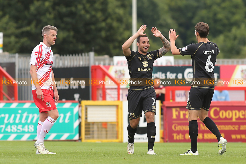Ed Upson celebrates scoring MK Dons opening goal with Samir Carruthers during Stevenage vs MK Dons, Friendly Match Football at the Lamex Stadium on 30th July 2016