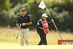 Ryder Cup captain Paul McGinley walks off the 5th green after securing his par during the second round of the ISPS Handa Wales Open 2013 at the Celtic Manor Resort<br /> <br /> 30.08.13<br /> <br /> ©Steve Pope-Sportingwales