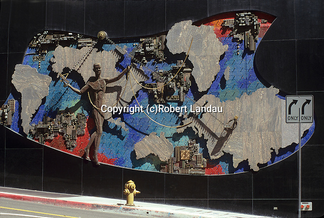 Public art on side of building in downtown Los Angeles