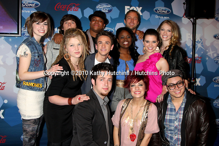 (l-r Back row) Siobhan Magnus, Tim urban, Michael Lynche, Casey James, Didi Benami , Middle Row - Crystal Bowersox, Aaron Kelly, Paige Miles, Katie Stevens, Front row- Lee Dewyze, Lacey Brown, Andrew Garcia.arriving at the American Idol Top 12 Party for Season 9.Industry Club.Los Angeles, CA.March 11, 2010.©2010 Kathy Hutchins / Hutchins Photo....