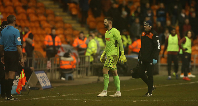 Blackpool's goalkeeper Mark Howard leaves the pitch after sustaining an injury <br /> <br /> Photographer Stephen White/CameraSport<br /> <br /> Emirates FA Cup Third Round - Blackpool v Arsenal - Saturday 5th January 2019 - Bloomfield Road - Blackpool<br />  <br /> World Copyright &copy; 2019 CameraSport. All rights reserved. 43 Linden Ave. Countesthorpe. Leicester. England. LE8 5PG - Tel: +44 (0) 116 277 4147 - admin@camerasport.com - www.camerasport.com