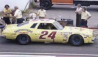 Cecil Gordon #24 Chevrolet 19th place finish pits pit stop Southern 500 Darlington Raceway, Darlington SC, September 5, 1977.(Photo by Brian Cleary/www.bcpix.com)