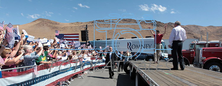 Republican Vice-Presidential candidate Rep. Paul Ryan, R-Wis., campaigns at the Peterbilt Truck & Parts Equipment company in Sparks, Nev., on Friday, Sept. 7, 2012. (AP Photo/Cathleen Allison)