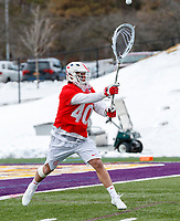 University at Albany Men's Lacrosse defeats Cornell 11-9 on Mar 4 at Casey Stadium.  Christian Knight (#40).