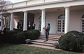 United States President George H.W. Bush reads a statement rejecting the proposed Soviet peace agreement to end the Gulf War with Iraq in the Rose Garden of the White House in Washington, D.C. on February 22, 1991.  Also visible in the photo are White House Press Secretary Marlin Fitzwater, National Security Advisor Brent Scowcroft, White House Chief of Staff John Sununu, and U.S. Vice President Dan Quayle.<br /> Credit: Howard L. Sachs / CNP