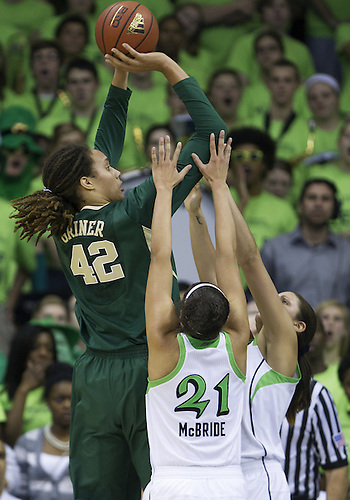 December 05, 2012:  Baylor center Brittney Griner (42) goes up for a shot as Notre Dame forward Natalie Achonwa (11) and guard Kayla McBride (21) defend during NCAA Women's Basketball game action between the Notre Dame Fighting Irish and the Baylor Bears at Purcell Pavilion at the Joyce Center in South Bend, Indiana.  Baylor defeated Notre Dame 73-61.