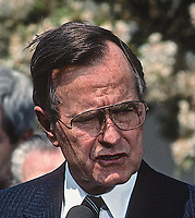 ***FILE PHOTO*** George H.W. Bush Has Passed Away<br /> Washington, DC., USA, April 14, 1989<br /> President George H. W. Bush delivers his remarks after signing the Bipartisan Budget Argeement, in the Rose Garden. <br /> CAP/MPI/MRN<br /> &copy;MRN/MPI/Capital Pictures