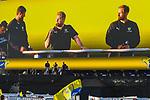 Oben die Fans unten auf der Buehne die Rhein Neckar Loewen v.l. Mait Patrail (Nr.9, Rhein-Neckar-Loewen), Sprecher Kevin Germin und Albin Lagergren (Nr.23, Rhein-Neckar-Loewen) bei der Mannschaftsvorstellung der Rhein Neckar Loewen auf dem Carstival auf dem MaiMarkt Gelaende Mannheim.<br /> <br /> Foto © PIX-Sportfotos *** Foto ist honorarpflichtig! *** Auf Anfrage in hoeherer Qualitaet/Aufloesung. Belegexemplar erbeten. Veroeffentlichung ausschliesslich fuer journalistisch-publizistische Zwecke. For editorial use only.