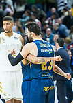 Pierria Henry and Tornike Shengelia celebrating the win during Real Madrid vs Kirolbet Baskonia game of Liga Endesa. 19 January 2020. (Alterphotos/Francis Gonzalez)