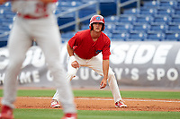Clearwater Threshers center fielder Mark Laird (6) leads off first base during a game against the Palm Beach Cardinals on April 15, 2017 at Spectrum Field in Clearwater, Florida.  Clearwater defeated Palm Beach 2-1.  (Mike Janes/Four Seam Images)