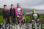 Diarmuid and Jack O'Donoughue watch Denis O'Shea and John Crowley at the new downhill Mountain bike track in Glenflesk.