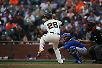 SAN FRANCISCO, CA - AUGUST 9:  Buster Posey #28 of the San Francisco Giants bats against the Chicago Cubs during the game at AT&T Park on Wednesday, August 9, 2017 in San Francisco, California. (Photo by Brad Mangin)