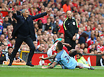 Jose Mourinho manager of Manchester United reacts as Nicolas Otamendi of Manchester City fouls Luis Antonio Valencia of Manchester United during the Premier League match at Old Trafford Stadium, Manchester. Picture date: September 10th, 2016. Pic Simon Bellis/Sportimage