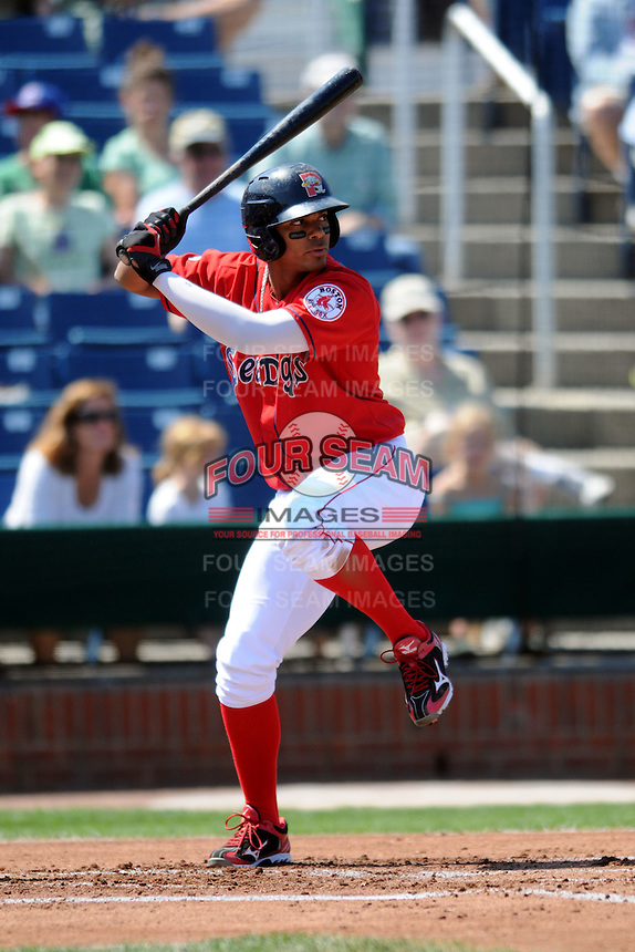 Portland Sea Dogs shortstop Xander Bogaerts #16 during a game versus the Binghamton Mets at Hadlock Field in Portland, Maine on August 26, 2012.  (Ken Babbitt/Four Seam Images)
