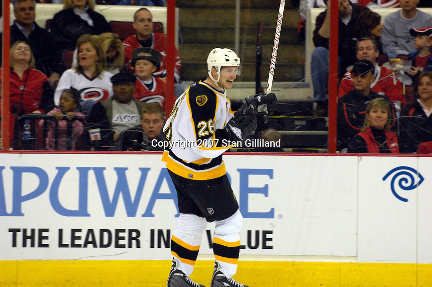 Boston Bruins' Brad Boyes celebrates his second period goal against the Carolina Hurricanes Saturday, Feb. 3, 2007 at the RBC Center in Raleigh. Boston won 4-3 in overtime.