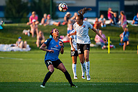 Kansas City, MO - Sunday September 3, 2017: Sydney Leroux Dwyer, Sarah Killion during a regular season National Women's Soccer League (NWSL) match between FC Kansas City and Sky Blue FC at Children's Mercy Victory Field.