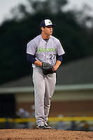 Vermont Lake Monsters pitcher Dustin Driver (27) gets ready to deliver a pitch during the second game of a doubleheader against the Batavia Muckdogs August 11, 2015 at Dwyer Stadium in Batavia, New York.  Batavia defeated Vermont 1-0.  (Mike Janes/Four Seam Images)