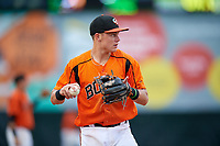 Bowie Baysox third baseman Ryan Mountcastle (4) during the first game of a doubleheader against the Trenton Thunder on June 13, 2018 at Prince George's Stadium in Bowie, Maryland.  Trenton defeated Bowie 4-3.  (Mike Janes/Four Seam Images)