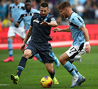 Football, Serie A: S.S. Lazio - Spal, Olympic stadium, Rome, February 2, 2020. <br /> Lazio's captain Ciro Immobile (r) in action with Spal's Nenad Tomovic (l) during the Italian Serie A football match between S.S. Lazio and Spali at Rome's Olympic stadium, Rome , on February 2, 2020. <br /> UPDATE IMAGES PRESS/Isabella Bonotto