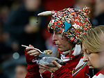 Liverpool fan eats a pie before the Champions League Group E match at the Anfield Stadium, Liverpool. Picture date 13th September 2017. Picture credit should read: Simon Bellis/Sportimage