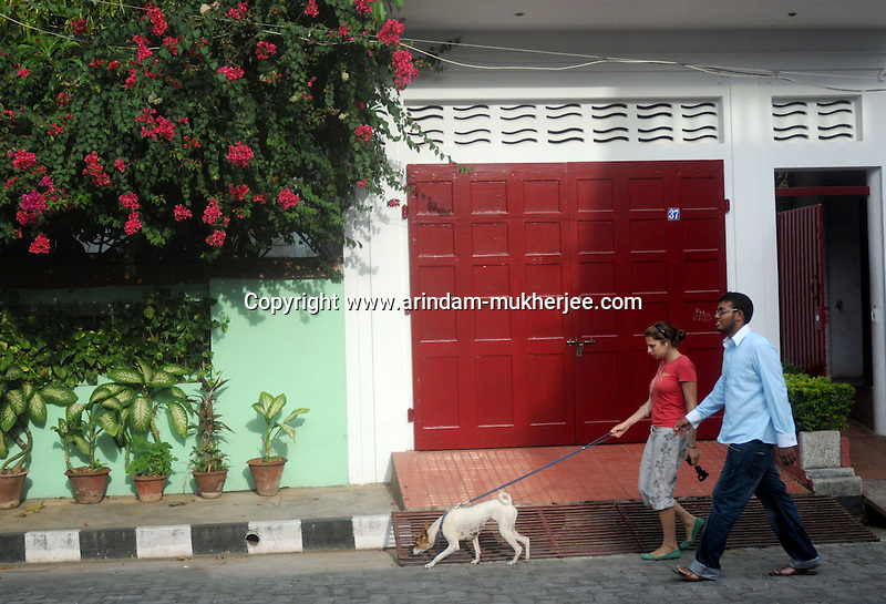 A French lady with his Indian Friend. Local people mix up quite well wit the French residents in Pondicherry. Arindam Mukherjee/Sipa