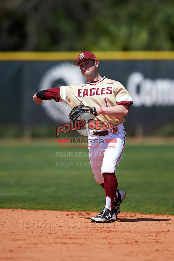 Boston College Eagles Jake Alu (1) during practice before a game against the Central Michigan Chippewas on March 3, 2017 at North Charlotte Regional Park in Port Charlotte, Florida.  Boston College defeated Central Michigan 5-4.  (Mike Janes/Four Seam Images)