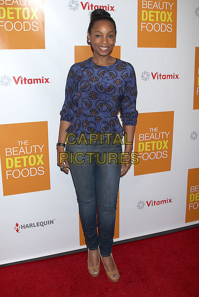 "Anika Noni Rose.Celebrity Nutritonist Kimberly Snyder Hosts Book Launch Party For ""The Beauty Detox Foods"" At Smashbox, Hollywood, California, USA..March 26th, 2013.full length top jeans denim black blue purple black pattern print  .CAP/ADM/RE.©Russ Elliot/AdMedia/Capital Pictures."
