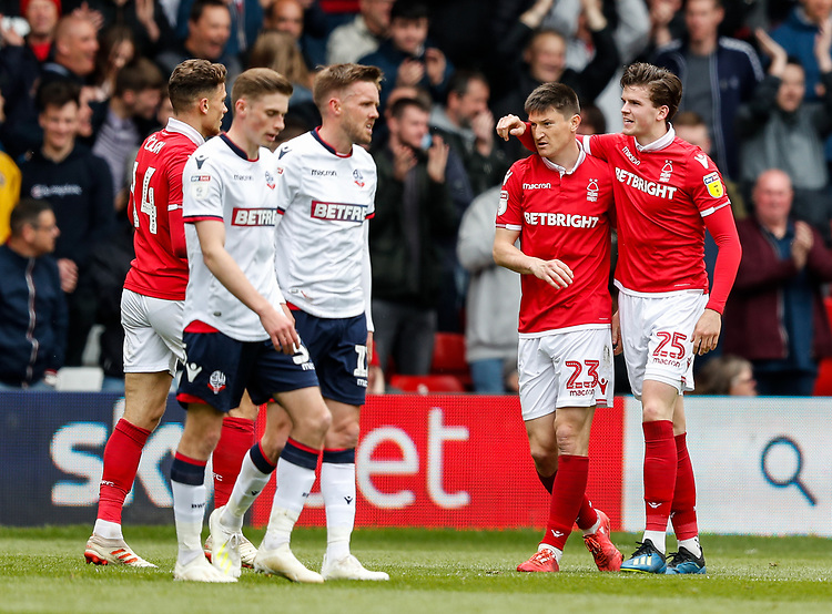 Nottingham Forest's Joe Lolley celebrates with his team mates after scoring their opening goal<br /> <br /> Photographer Andrew Kearns/CameraSport<br /> <br /> The EFL Sky Bet Championship - Nottingham Forest v Bolton Wanderers - Sunday 5th May 2019 - The City Ground - Nottingham<br /> <br /> World Copyright © 2019 CameraSport. All rights reserved. 43 Linden Ave. Countesthorpe. Leicester. England. LE8 5PG - Tel: +44 (0) 116 277 4147 - admin@camerasport.com - www.camerasport.com