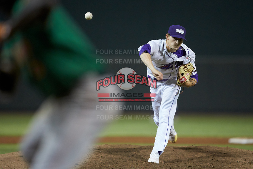 Winston-Salem Dash relief pitcher Codi Heuer (20) delivers a pitch to the plate against the Down East Wood Ducks at BB&T Ballpark on May 10, 2019 in Winston-Salem, North Carolina. The Wood Ducks defeated the Dash 9-2. (Brian Westerholt/Four Seam Images)