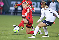 Portland, Oregon - Saturday May 21, 2016: The Portland Thorns Dagny Brynjarsdottir (11) and Washington Spirits Shelina Zardorsky (6) during a regular season NWSL match at Providence Park. The Thorns won 4-1.