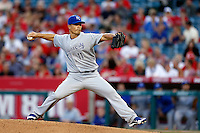 Jeremy Guthrie #11 of the Kansas City Royals pitches against the Los Angeles Angels at Angel Stadium on May 14, 2013 in Anaheim, California. (Larry Goren/Four Seam Images)