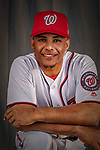 22 February 2019: Washington Nationals infielder Wilmer Difo poses for his Photo Day portrait at the Ballpark of the Palm Beaches in West Palm Beach, Florida. Mandatory Credit: Ed Wolfstein Photo *** RAW (NEF) Image File Available ***